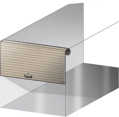 Avvolgibile - Il pannello composto da profili orizzontali agganciati tra loro si avvolge intorno a un rullo, integrato nel meccanismo stesso dell'apertura, posto sul bordo superiore del vano porta. Guide sagomate vengono invece fissate ai lati di questo.