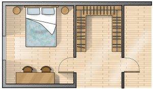 Su tre lati. Calcolando una profondità indicativa dell'attrezzatura di 55-60 cm e 120 cm per muoversi agevolmente in due mantenendo gli spazi ben divisi, la cabina deve avere come minimo i tre lati lunghi 240 cm.