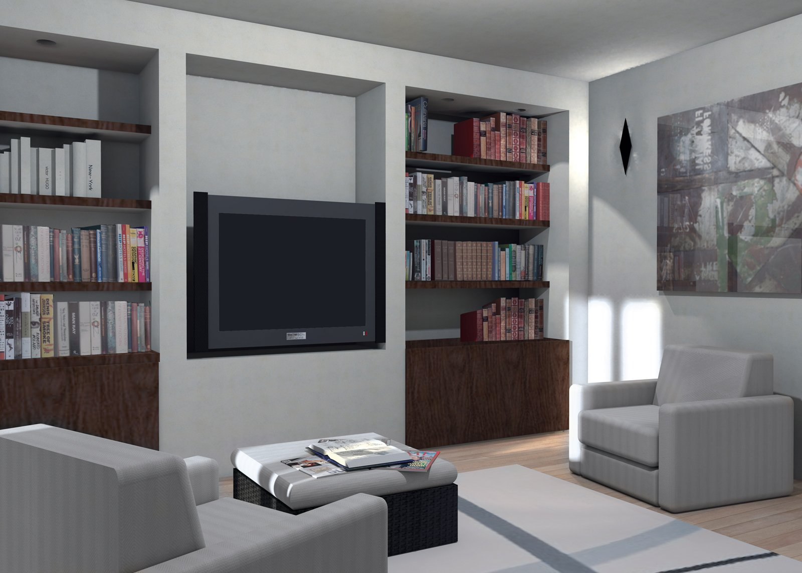 La parete libreria in cartongesso cose di casa for Tv sopra camino