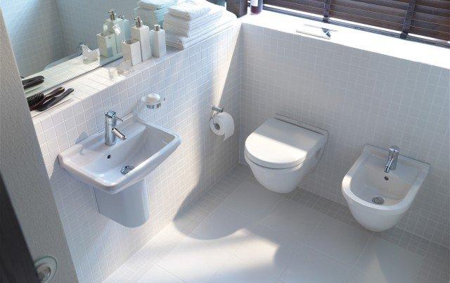 Compact serie Starck 3 di Duravit sono i sanitari sospesi in ceramica che misurano L 36 x P 48,5 cm. Prezzo del vaso completo di sedile 375; prezzo del bidet 225 www.duravit.it