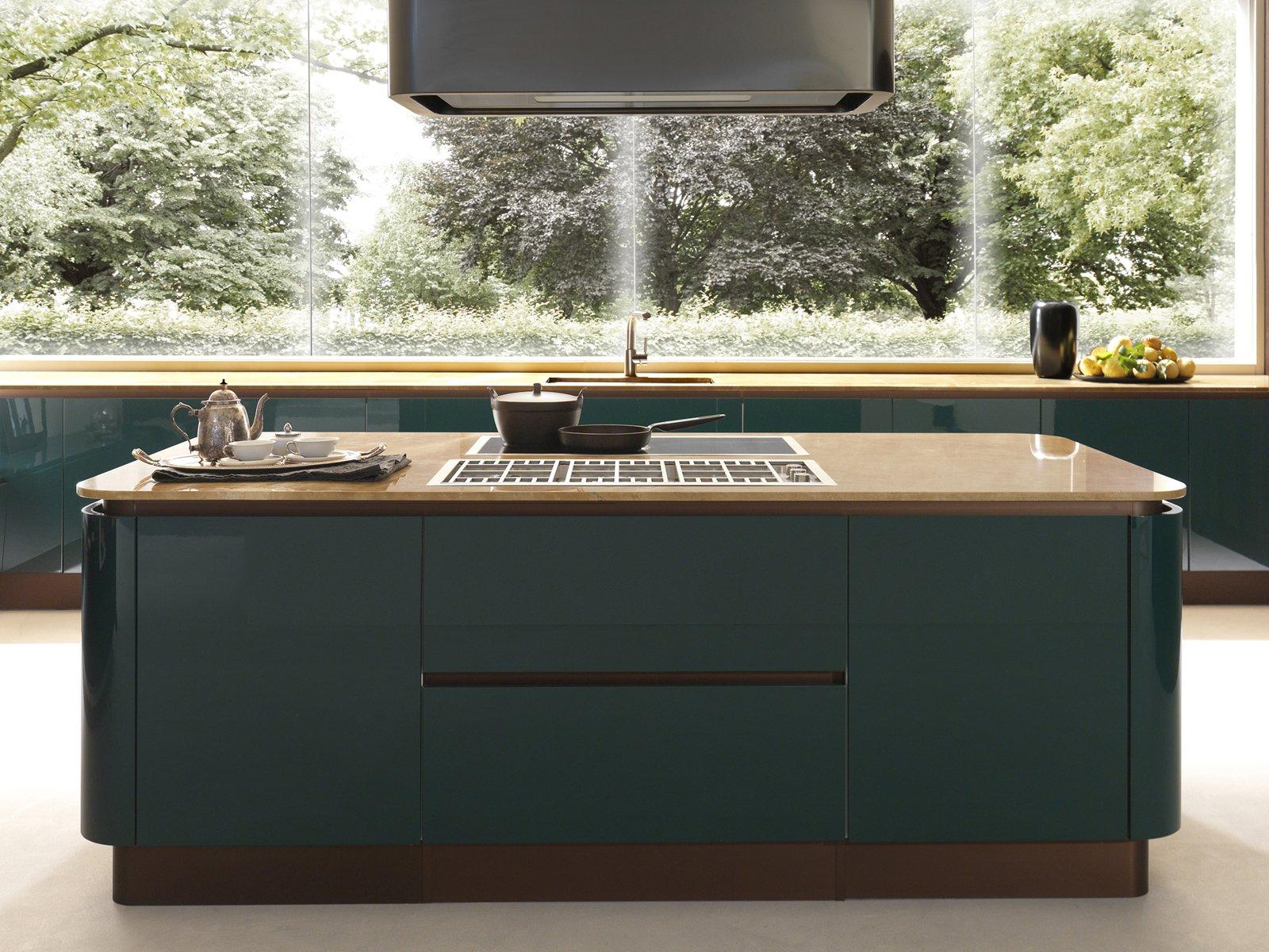 in monolaccato lucido verde petrolio la cucina primavera elegant coll system 22 di febal