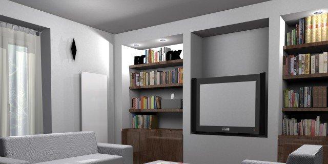 La parete libreria in cartongesso cose di casa - Altezza quadri sopra divano ...
