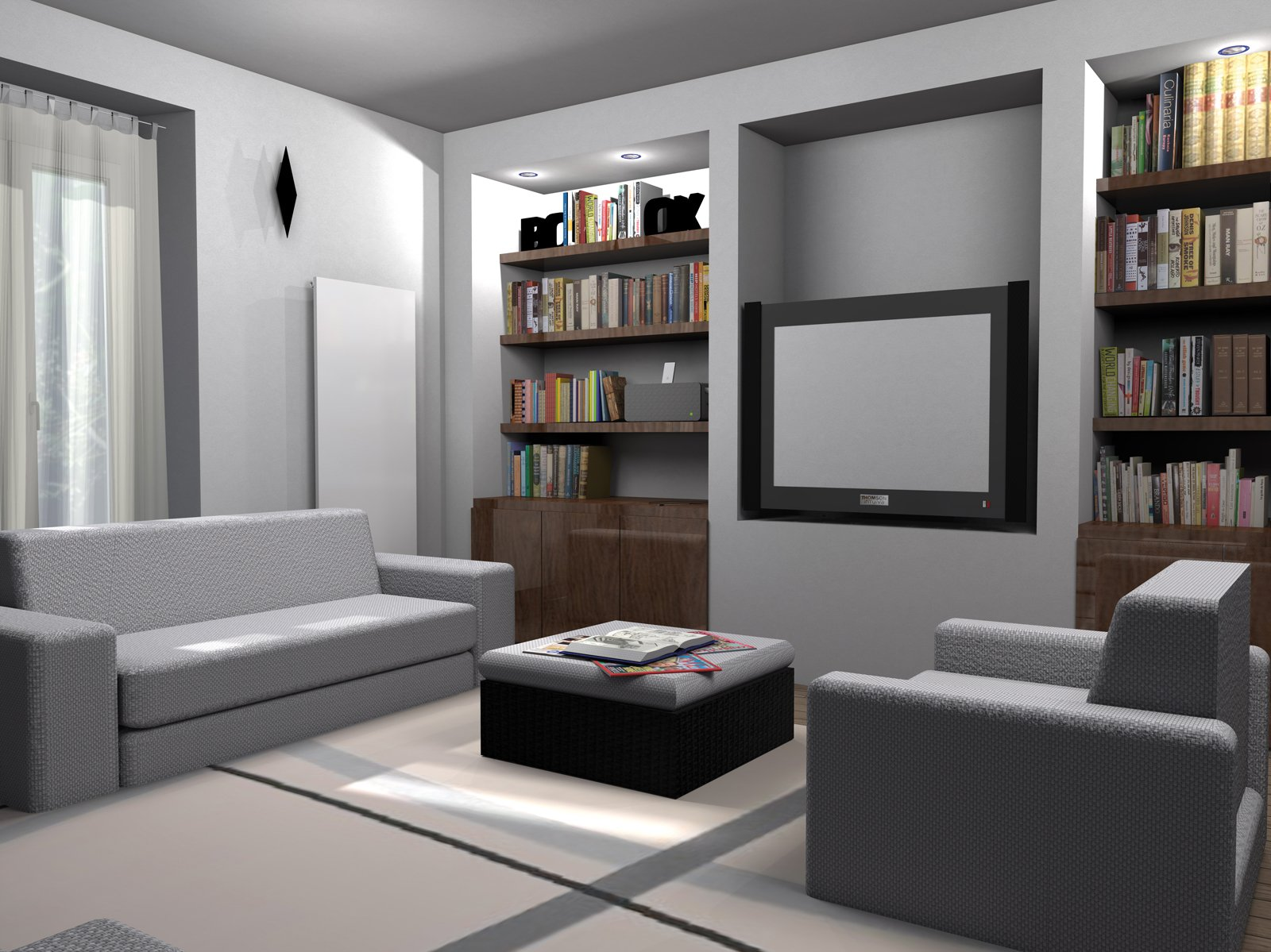 La parete libreria in cartongesso cose di casa for Parete soggiorno cartongesso