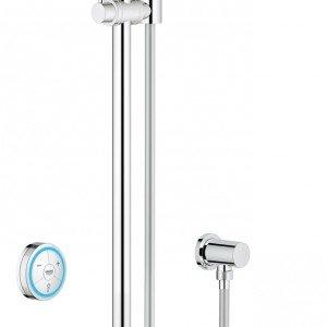 L'asta multifunzione Rainshower Solo F Digital di Grohe ha il pannello di controllo digitale. È alta 60/90 cm. Prezzo 1.527 euro. www.grohe.it
