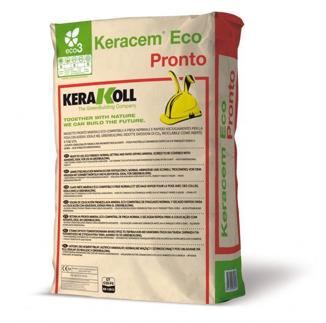 Keracem® eco Pronto di Kerakoll è il massetto minerale ecocompatibile pronto all'uso. A presa normale e rapida asciugatura, è riciclabile come inerte a fine ciclo di vita. È venduto in pacchi da 30 kg. Prezzo su preventivo. www.kerakoll.com
