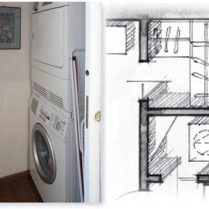 Rispetto alla situazione originaria, la camera matrimoniale è stata ridimensionata per ottenere anche la cabina armadio e un vano lavanderia accessibile dal corridoio. La prima è accessoriata con una struttura modulare ad angolo che include anche una cassettiera e mensole a giorno. Nella lavanderia sono state sistemate una sopra l'altra, con una combinazione prevista dai produttori, la lavatrice e l'asciugatrice. Mensole sagomate per sfruttare l'angolo sono anche più pratiche perché non sporgono. Entrambi i vani sono chiusi da porte scorrevoli interno muro, per le quali sono stati previsti i relativi controtelai.