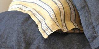 lenzuola Riggs di Libeco Home in lino a righe giallo