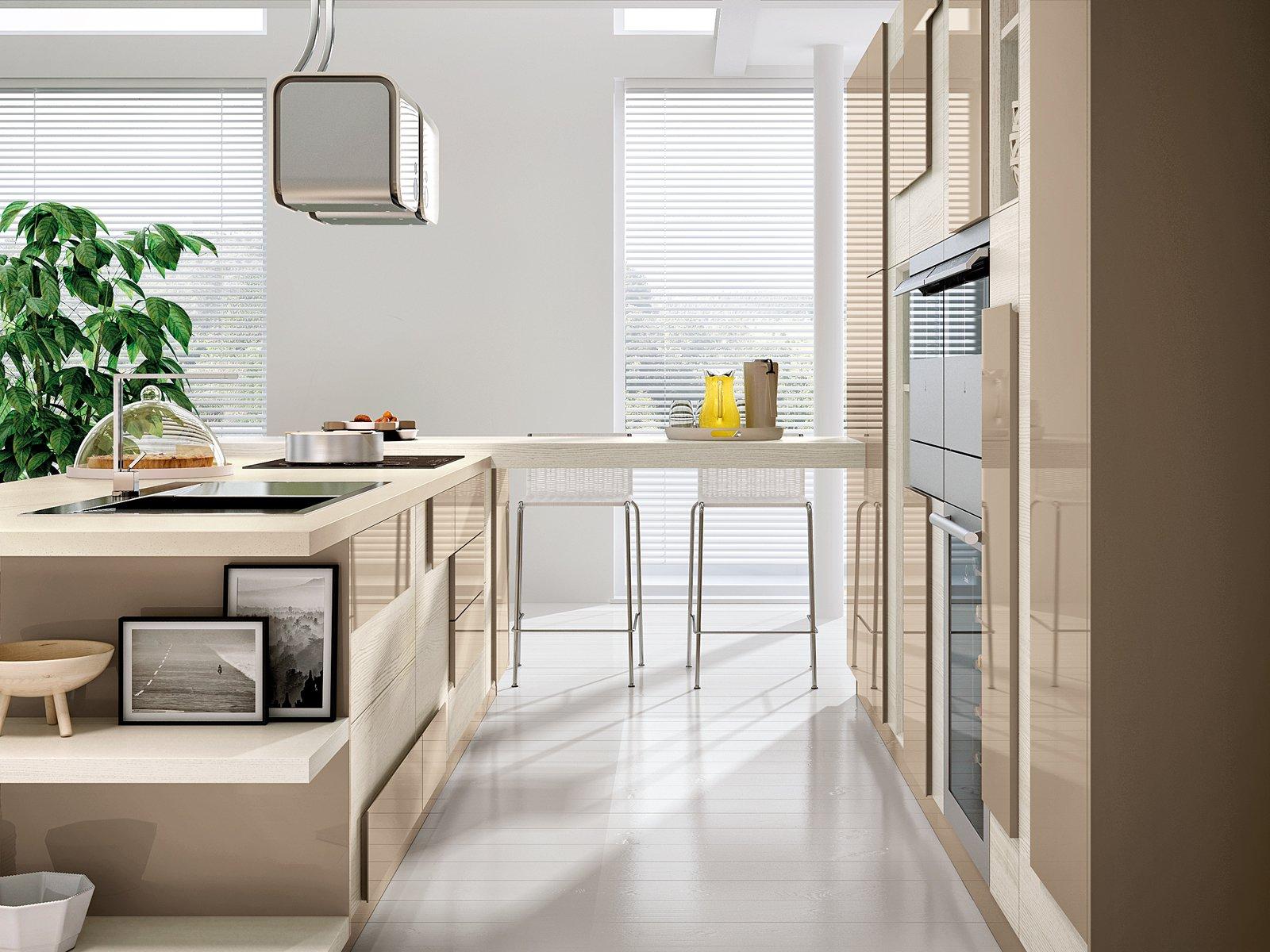 Anta Della Cucina Creativa Di Cucine Lube è Realizzata Con Due  #B69915 1600 1200 Come Arredare Cucina Soggiorno Di 20 Mq