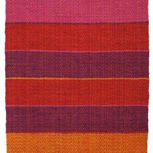 Tessuto, in cotone 100% il tappeto multicolor a righe  Hacienda di Maisons du Monde è lavabile a mano. Misura 200 x 140 cm. Prezzo 69 euro. www.maisonsdumonde.com