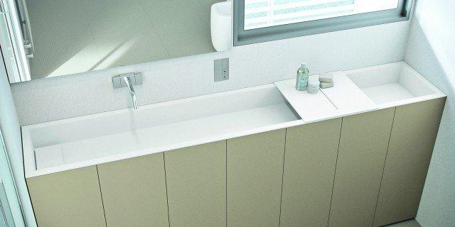 Per il bagno stretto, il lavabo modulare