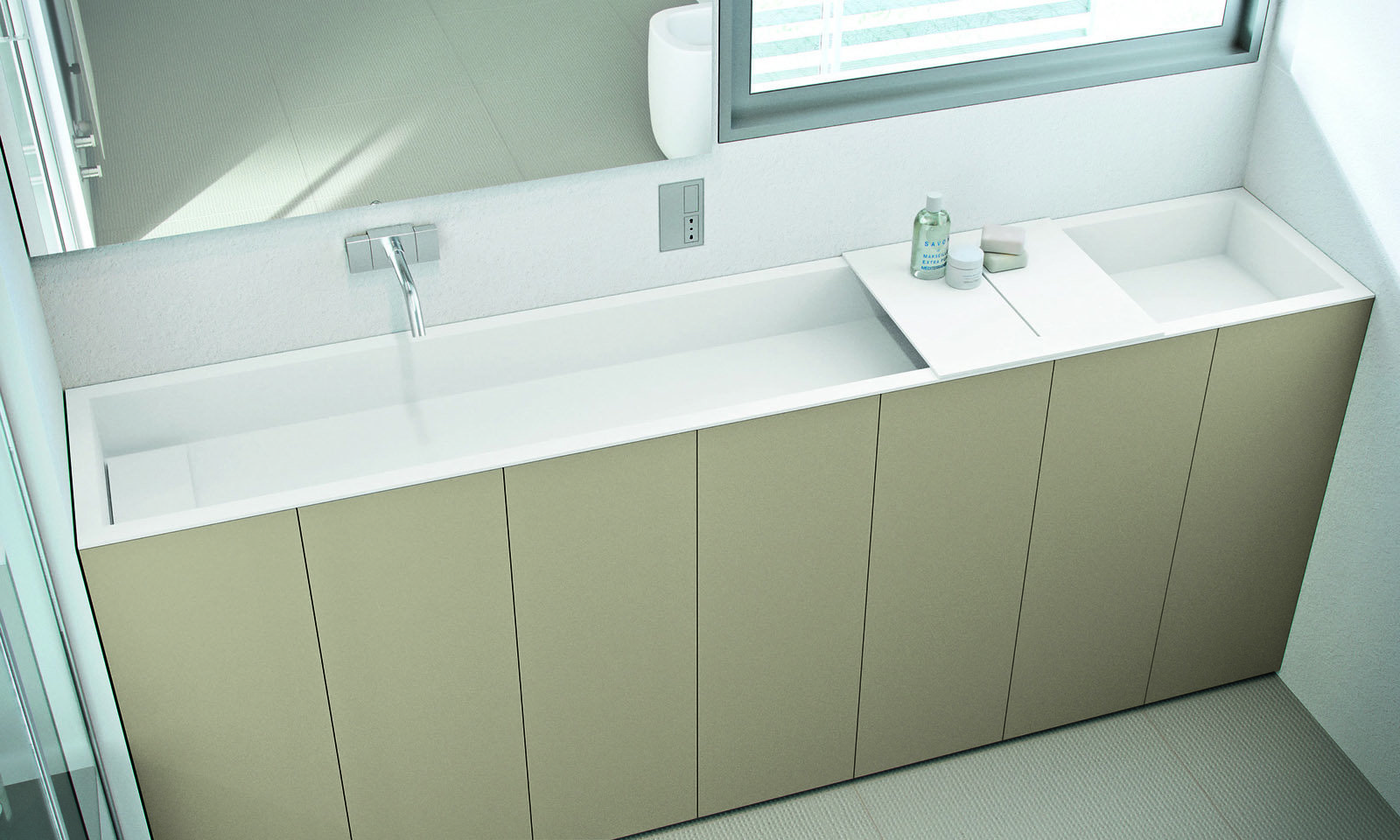 Mobile Bagno Dimensioni : Per Il Bagno Stretto Il Lavabo Modulare  #786A53 1600 960 Biliardo E Tavolo Da Pranzo