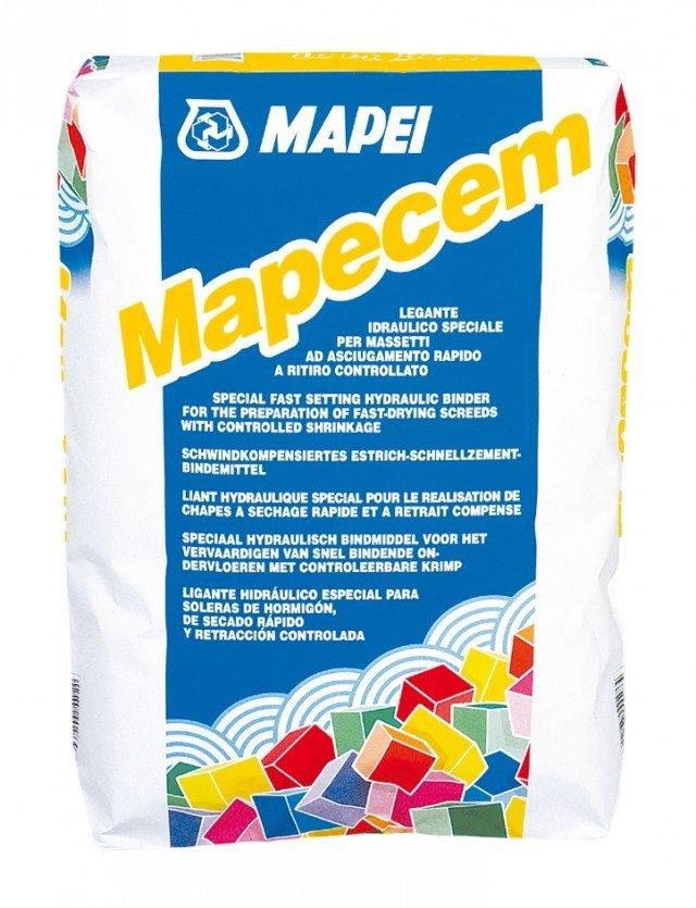 Mapecem di Mapei è il legante idraulico speciale per massetti che indurisce in poche ore ed asciuga in 24 ore; è commercializzato in sacchi da 20 kg. Prezzo da su preventivo. www.mapei.it