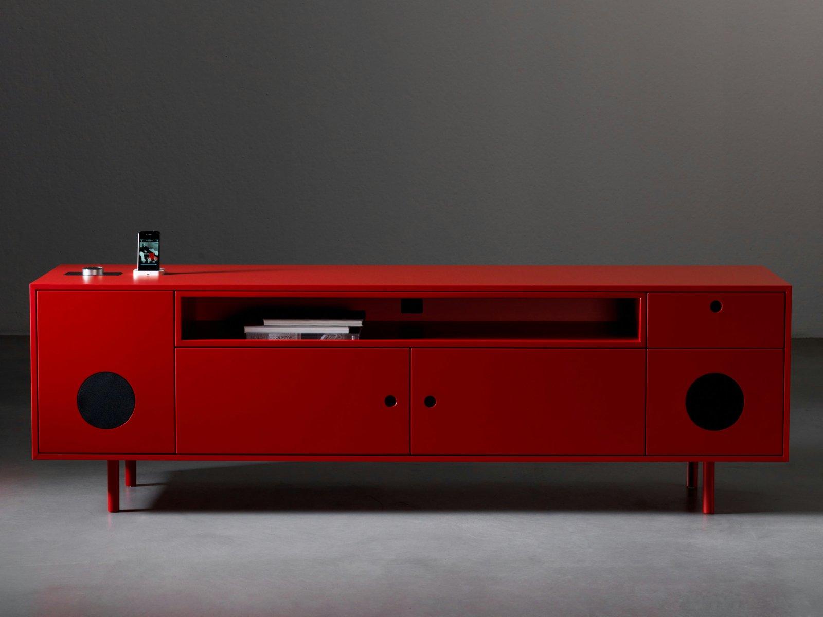 Credenza Moderna Laccata Rossa : Credenza moderna cubric riflessi legno acciaio