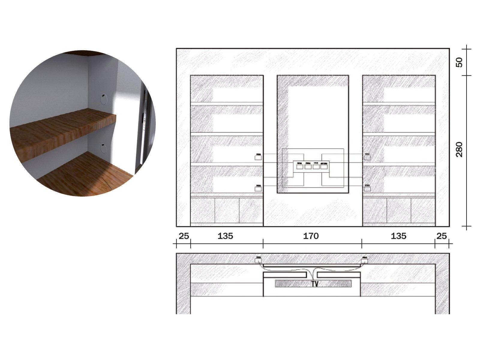 La parete libreria in cartongesso cose di casa - Mobili in cartongesso per tv ...