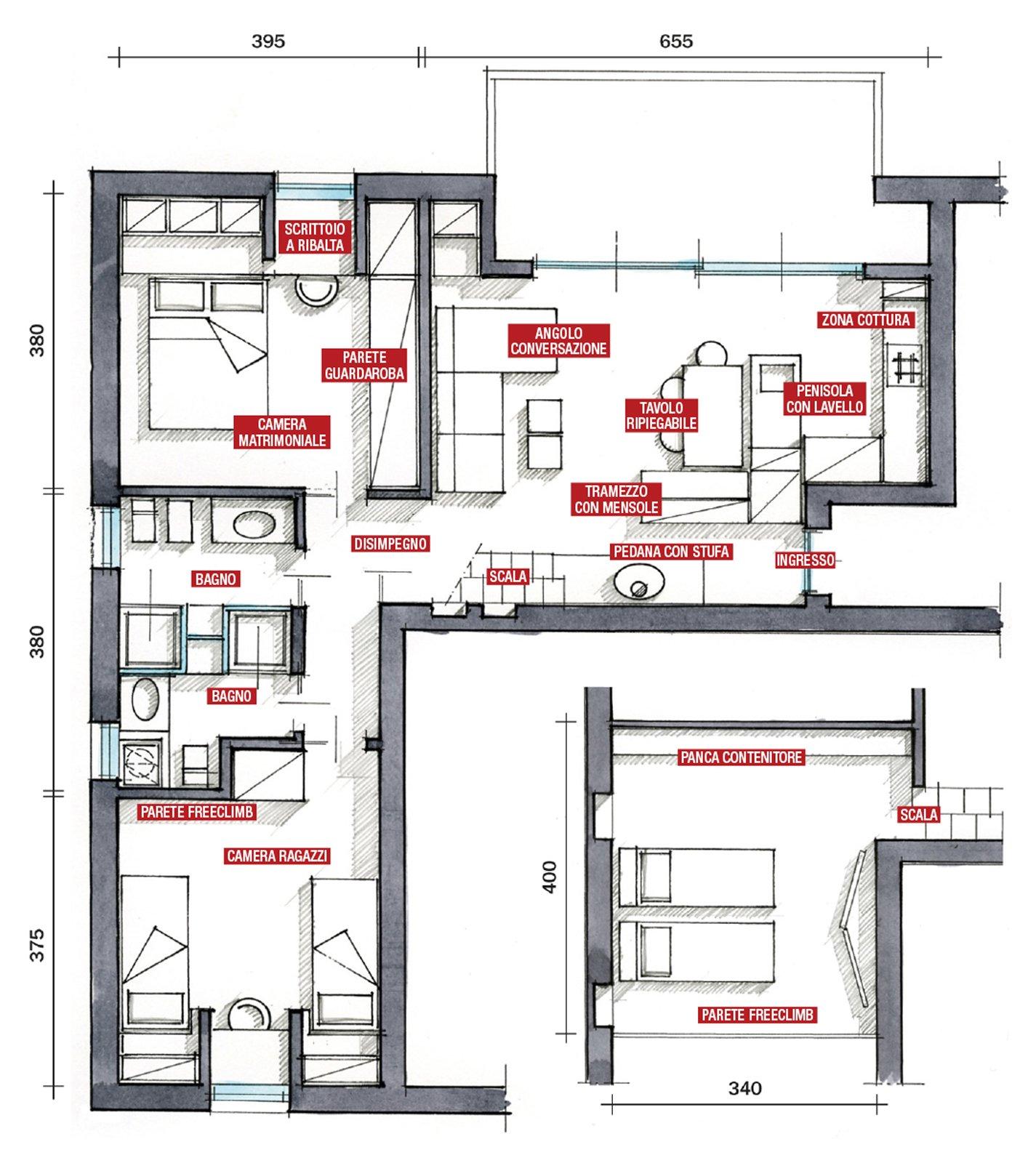 Casa di montagna sfruttata al centimetro cose di casa for Planimetrie della mia villa
