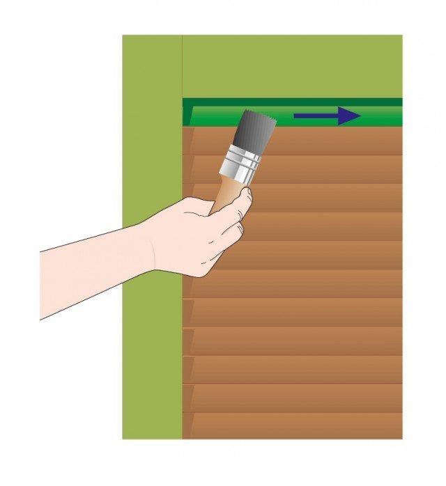 Per le listelle interne usare un pennello più piccolo. Passare il prodotto sulle listelle in senso orizzontale con 2-3 mani per ogni listella.