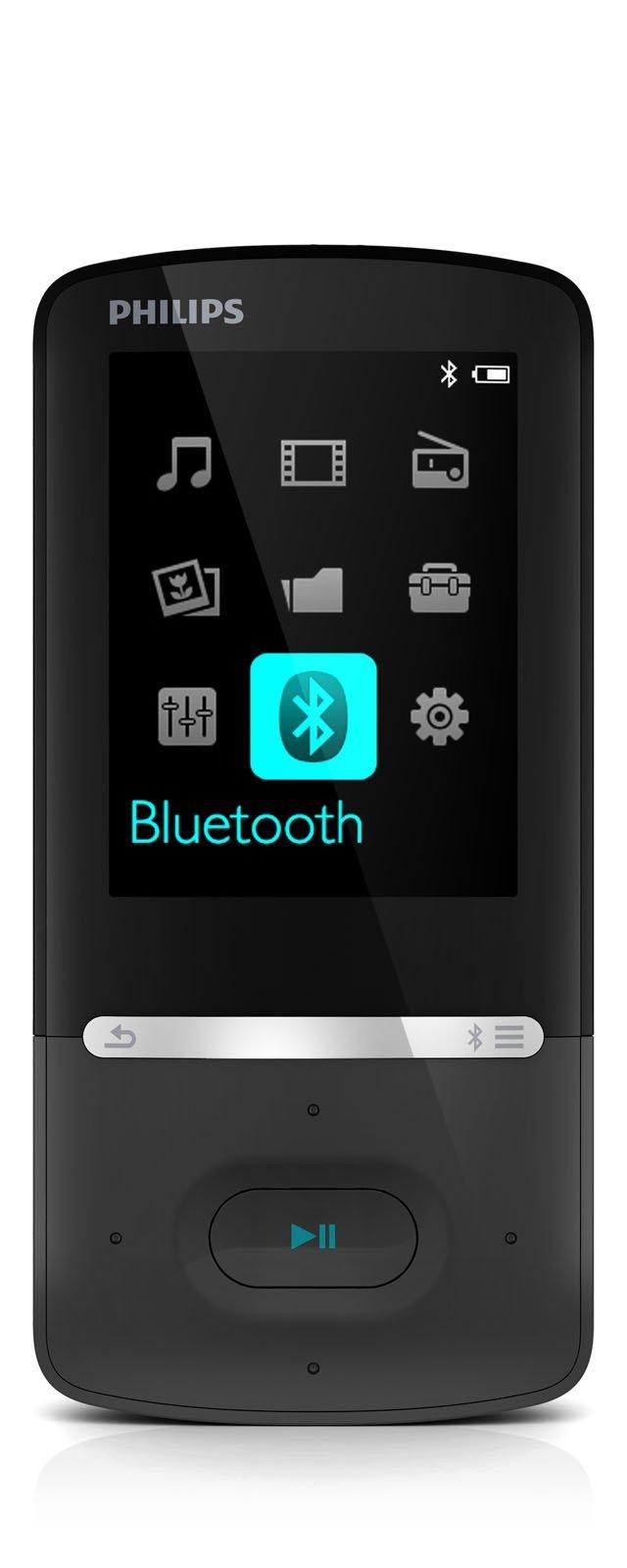 """Il lettore MP4 GoGear Azure SA5AZU04FK da 4 GB con FullSound™ include sistema Bluetooth® per la connessione wireless ai dispositivi audio. Con display a colori da 5,6 cm/2,2"""", visualizza e organizza i file multimediali come sul PC. È dotato di programma Songbird per gestire la musica. Misura L 5,1 x P 1 x H 9,3 cm. Prezzo 79,99 euro. www.philips.it"""