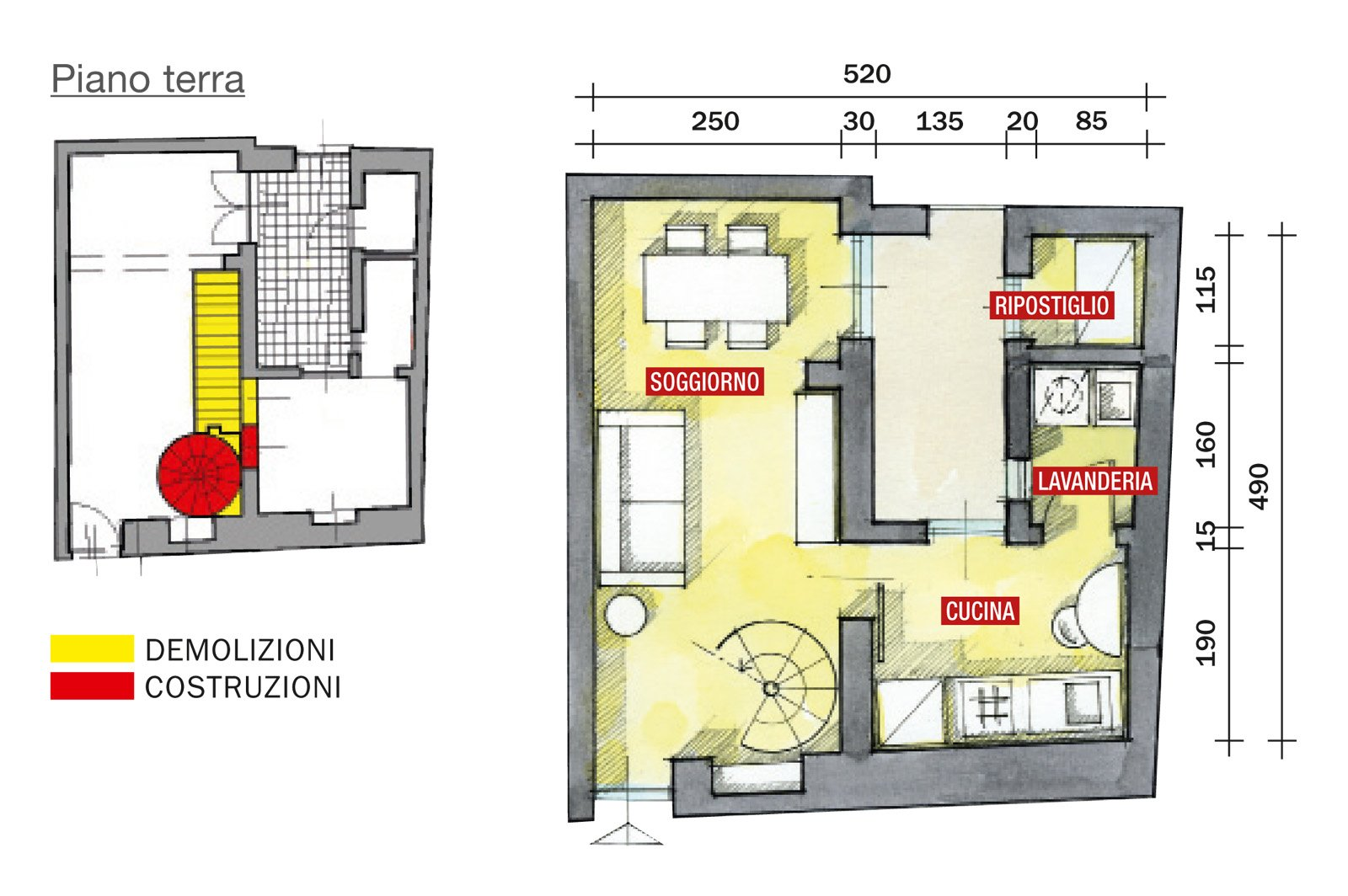 48 mq bilocale su due livelli cose di casa for Piccole planimetrie di piccole case