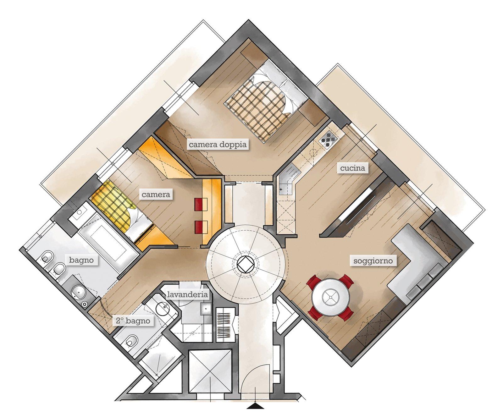 75 mq un trilocale pensato per il benessere cose di casa for Come progettare un appartamento con una camera da letto