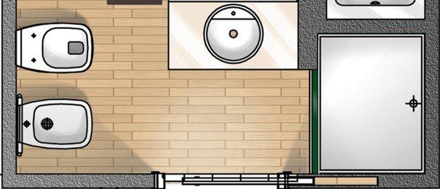 Il progetto è relativo a un bagno privo di finestra, consentito perché nell'abitazione ve ne è un altro dotato invece di aeroilluminazione naturale. In questo caso la superficie di 3,5 mq consente di avere entrambi i sanitari, ma trattandosi di secondo bagno era anche possibile rinunciare al bidet.