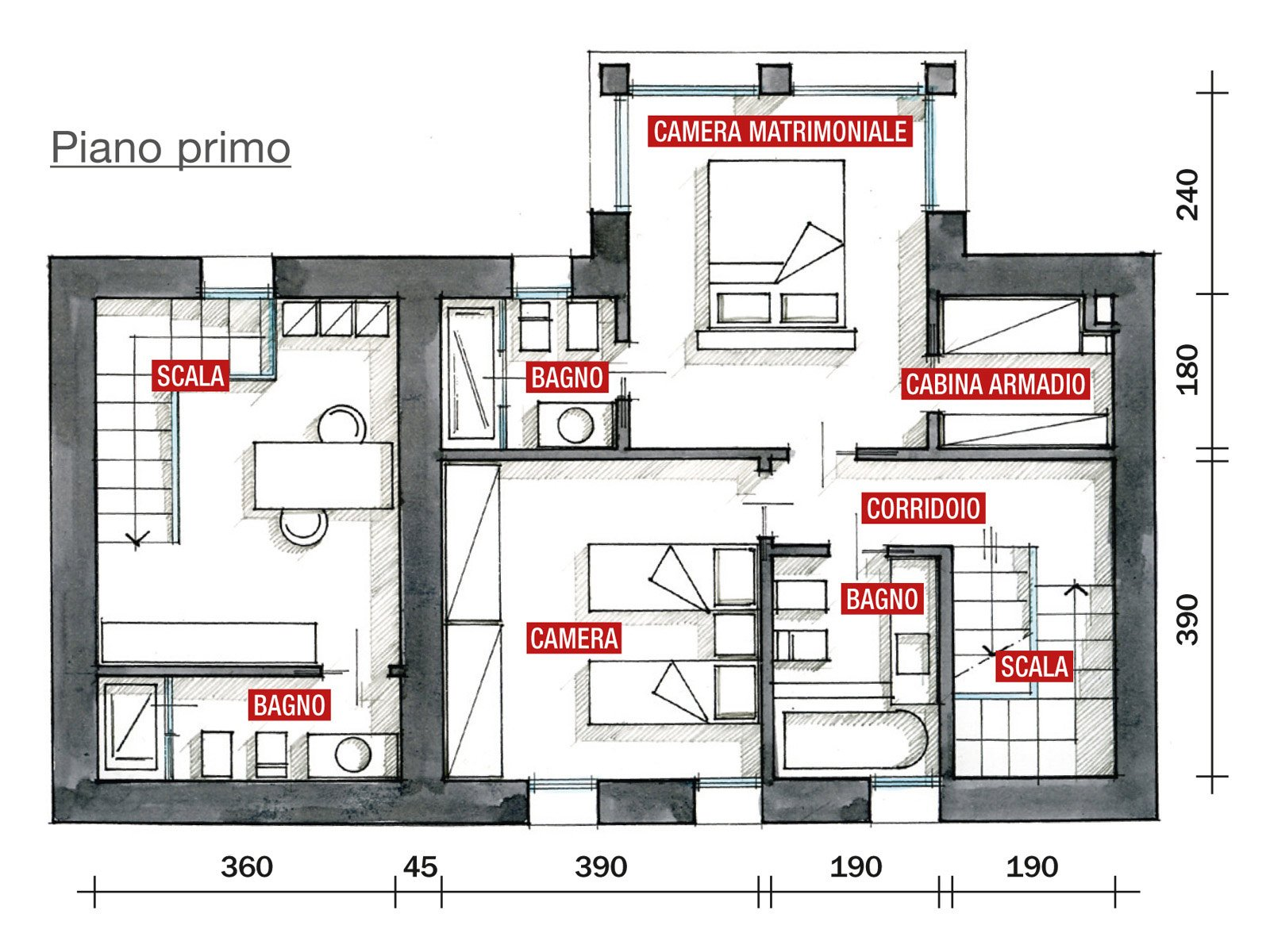 Legno e pietra a vista nella casa restaurata cose di casa for Grandi planimetrie per le case