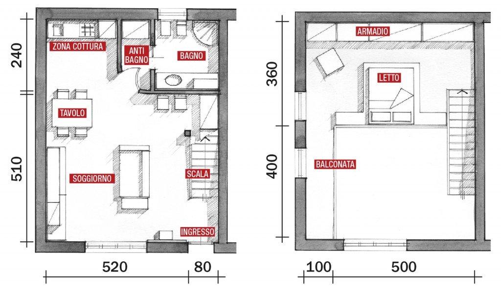 Una casa a doppia altezza con soppalco di 70 mq cose di casa for Moderni disegni di case a due piani