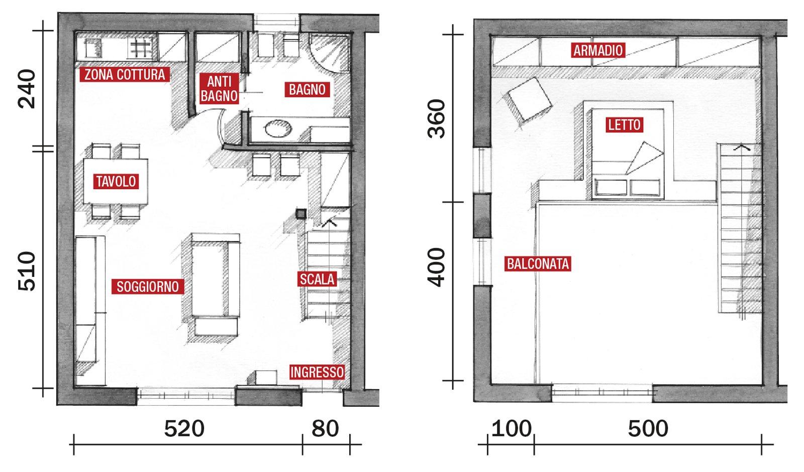Una casa a doppia altezza con soppalco di 70 mq cose di casa - Disegno pianta casa ...
