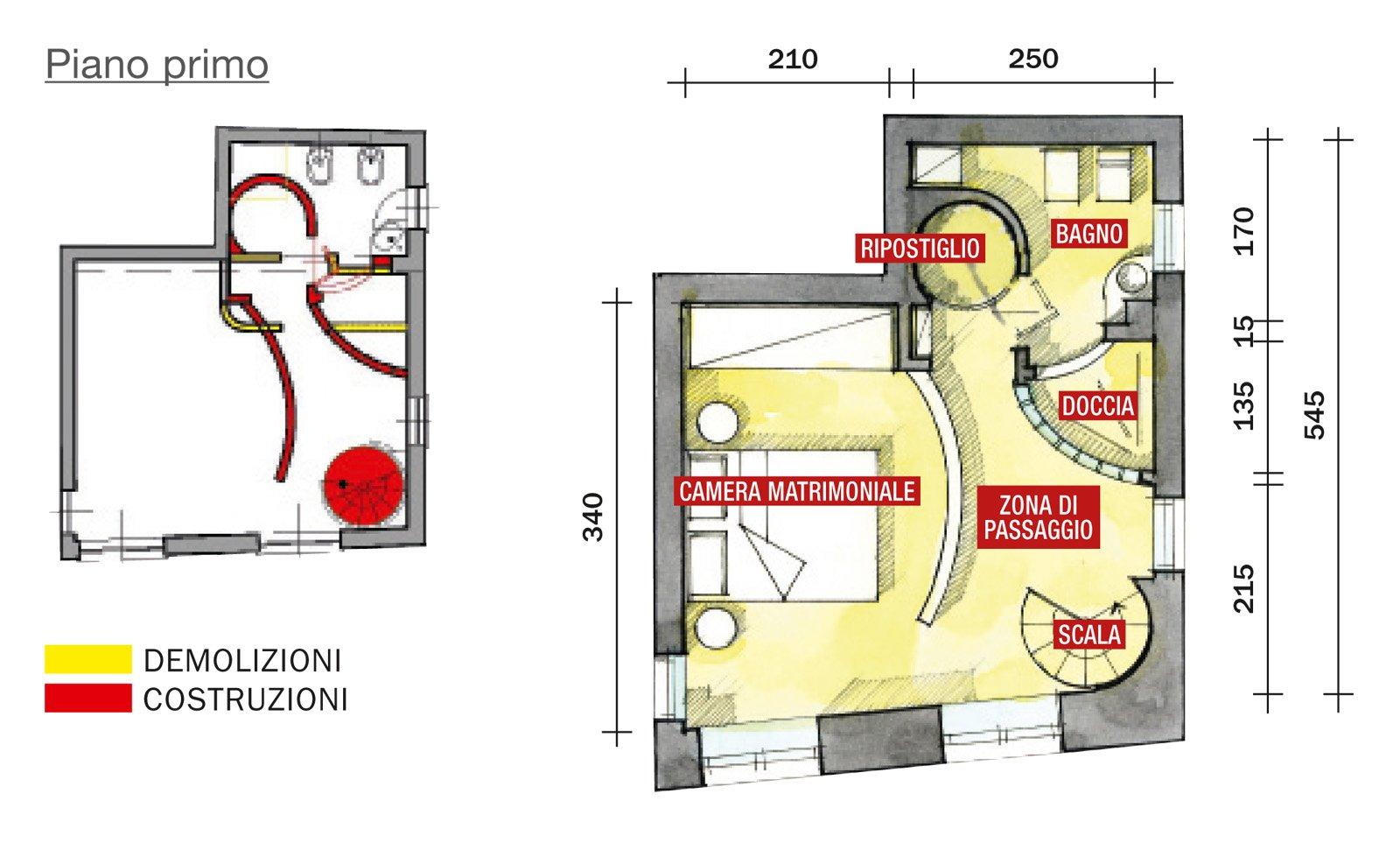 48 mq bilocale su due livelli cose di casa for Planimetrie della casa con seminterrato di sciopero