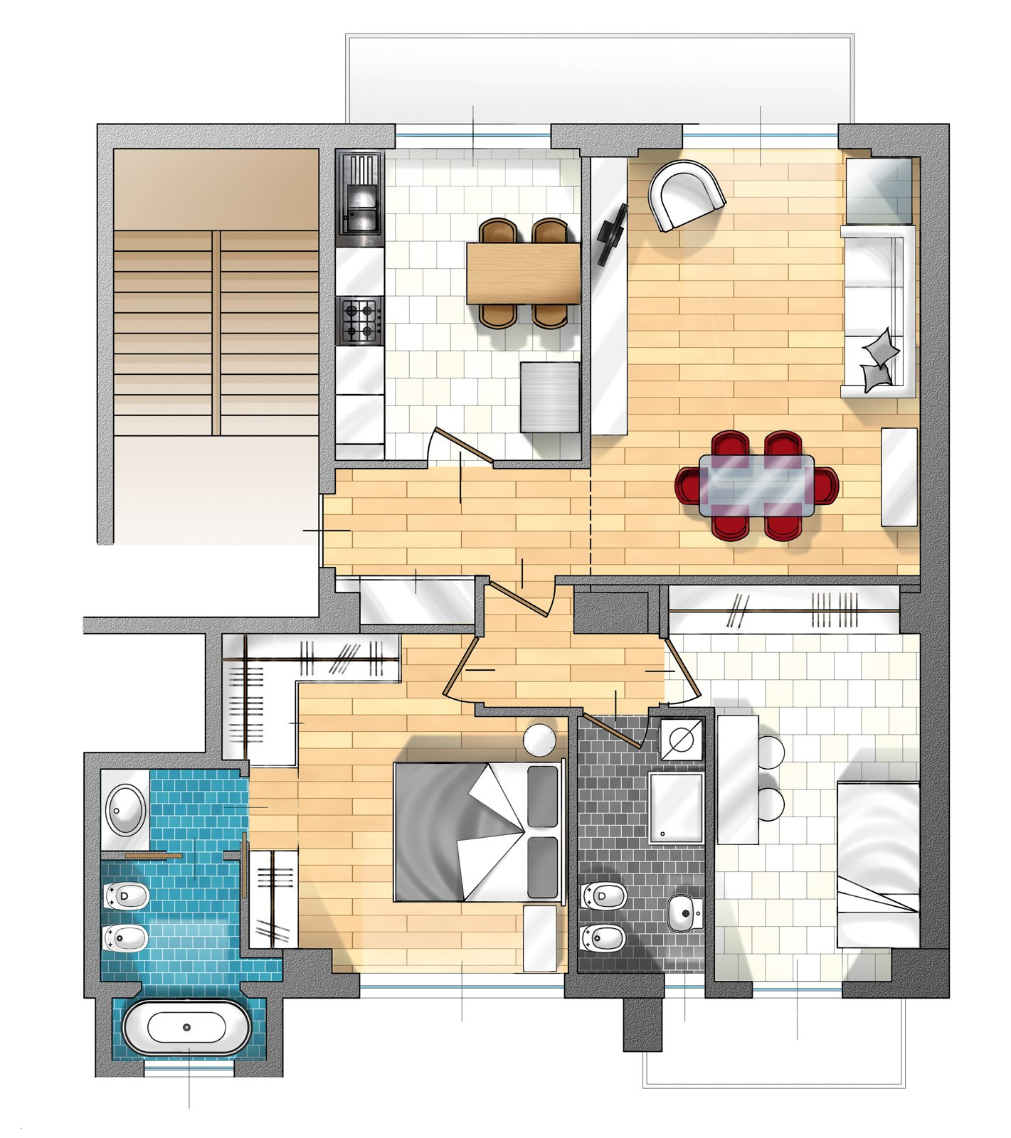Unire due appartamenti pratiche burocratiche e interventi - Planimetria casa 100 mq ...