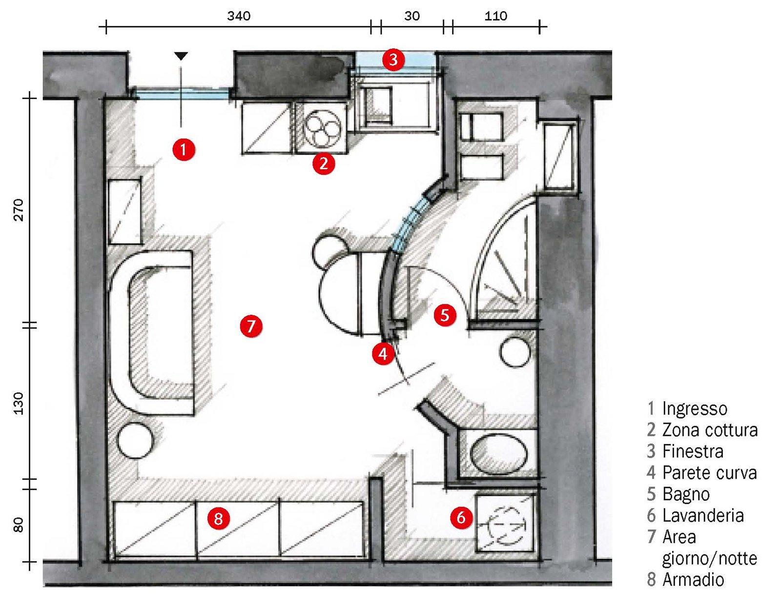 Monolocale di 25 mq con soluzioni salvaspazio cose di casa - Dimensioni minime cucina bar ...