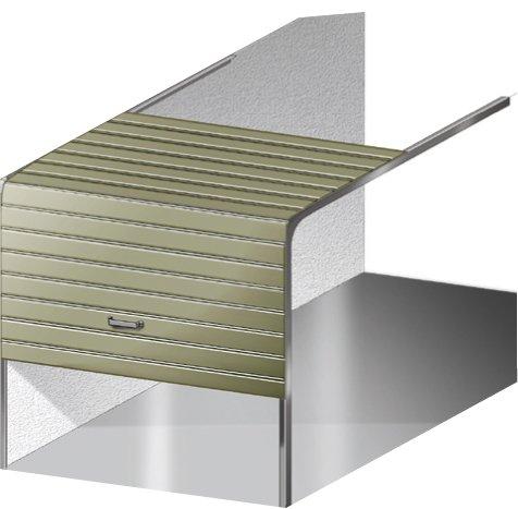 Sezionale - Anche in questo caso il portone ha apertura verticale ma, grazie ad apposite guide laterali scorre verso l'alto, disponendosi lungo il soffitto, senza avvolgersi su se stesso.