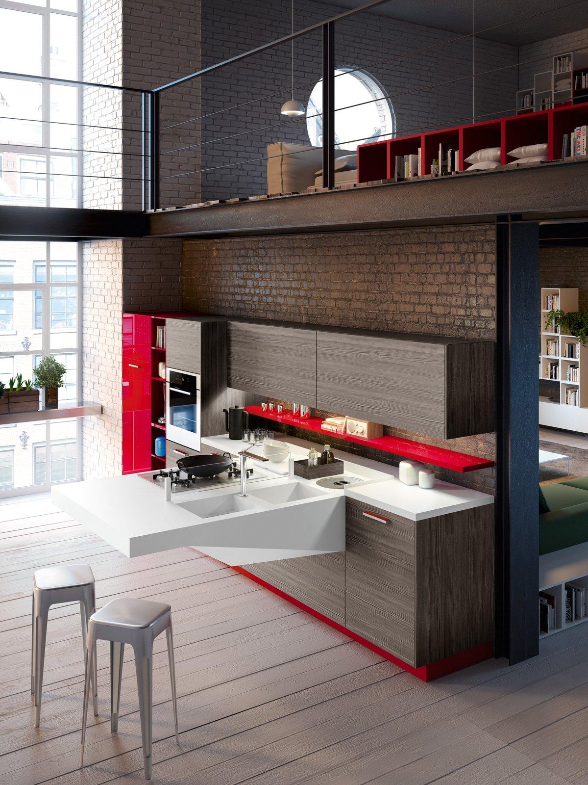 Il Piano Di Lavoro Della Cucina Board Di Snaidero è Realizzato  #C10A28 1200 1600 Cucine Piccole E Strette