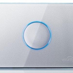 L'interruttore Vitrum di Think Simple dialoga anche con tablet e smartphone; un comando touch screen al centro dell'interruttore può regolare luci, allarmi e condizionatori; prezzo 176,66 euro. www.thinksimple.it