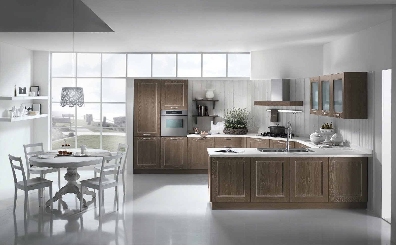 Cucina Shabby Chic Con Isola : Cucina A Legna Nordica Offerte. Cucina  #5C4E42 1600 992 Cucine Shabby Chic Mondo Convenienza