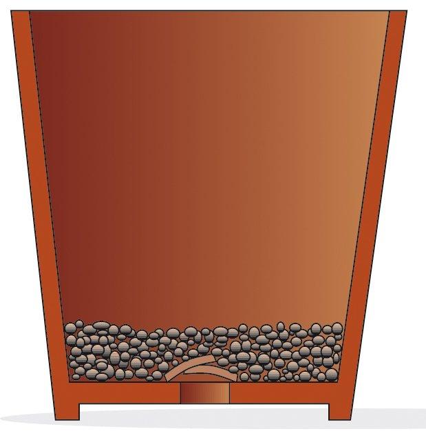 1. Stendere sul fondo del nuovo vaso alcuni cocci per chiudere il foro di scolo e 3 - 4 cm di argilla espansa.