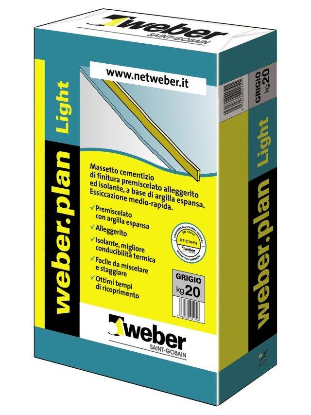 Weber.plan Light di Weber Saint-Gobain è il massetto cementizio di finitura ad essiccazione medio rapida, alleggerito con argilla espansa. Esiste in sacchi da 20 kg. Prezzo su preventivo. http://netweber.it