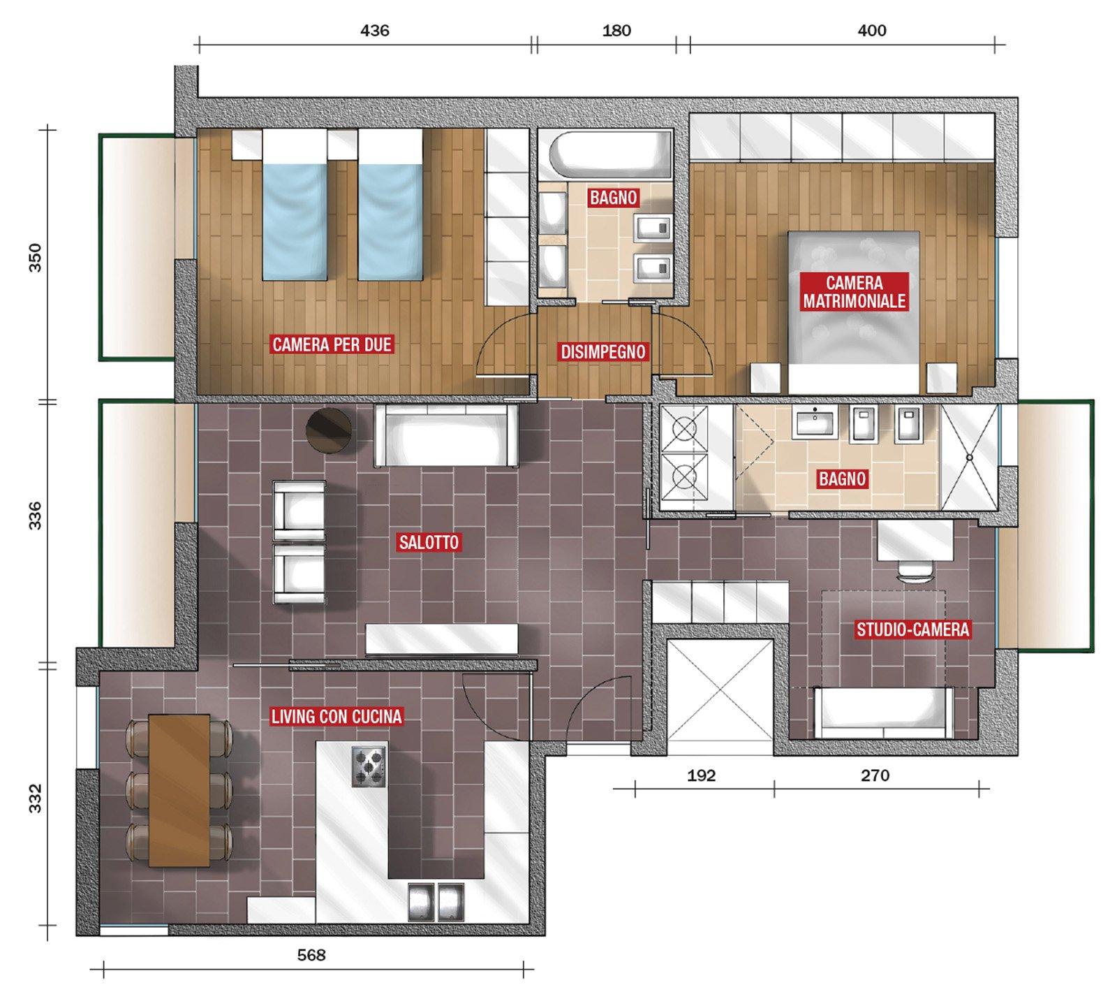 Soggiorno pi grande e un bagno in pi con il preventivo - Progetto casa 100 mq ...