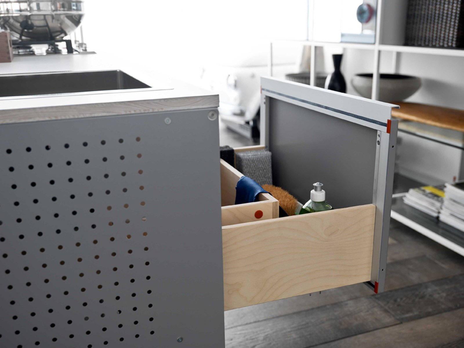 il telaio sempre del sistema demode di valcucine in profilati dalluminio