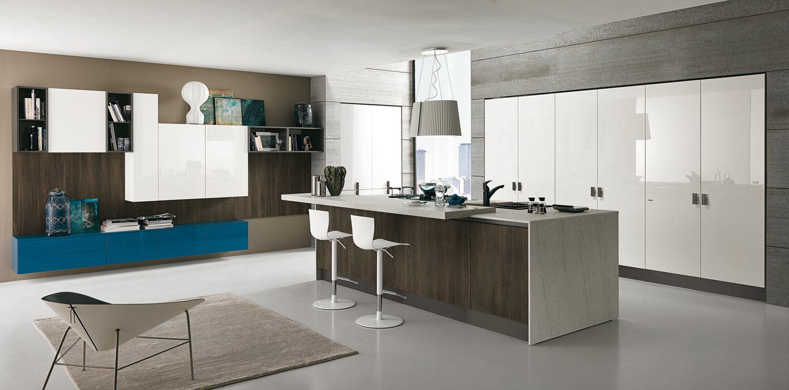 Per Creare Un'armoniosa Unione Con L'ambiente Living. Il Legno Con  #024C6A 1600 791 Cucine Piccole Dimensioni Con Isola