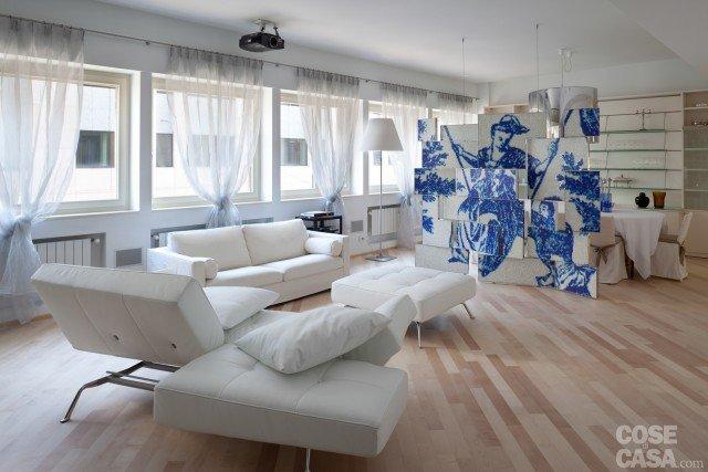 soggiorno open space casa ristrutturata per risparmio energetico