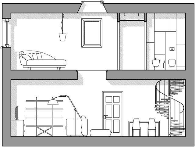 Per essere adatto al calpestìo, il vetro è di tipo stratificato e antisfondamento (lo spessore dipende dalle dimensioni); è applicato con un telaio di profili di acciaio. Al piano superiore risulta complanare al pavimento.