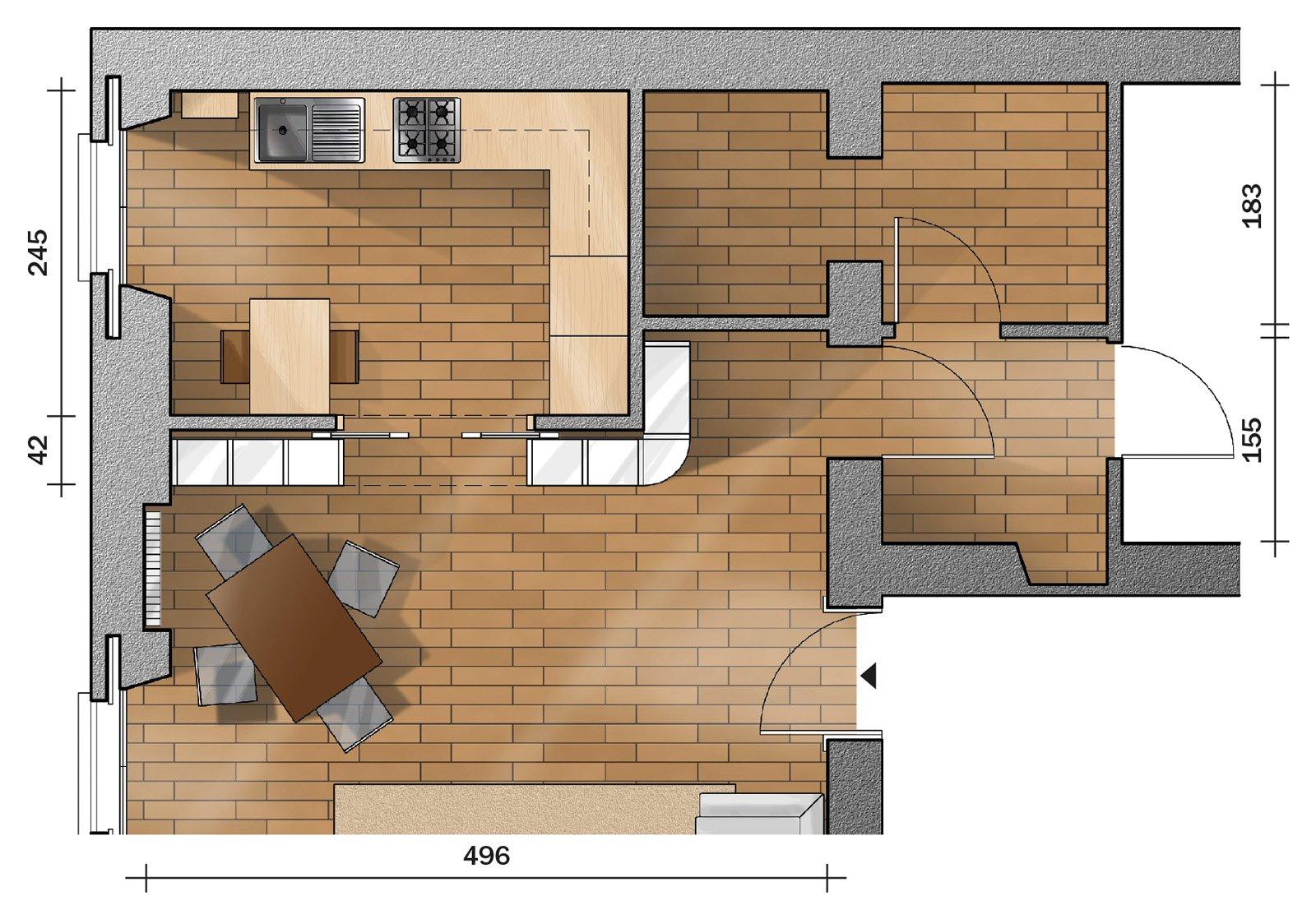 Progetto: cucina e soggiorno arredati sfruttando al massimo lo spazio