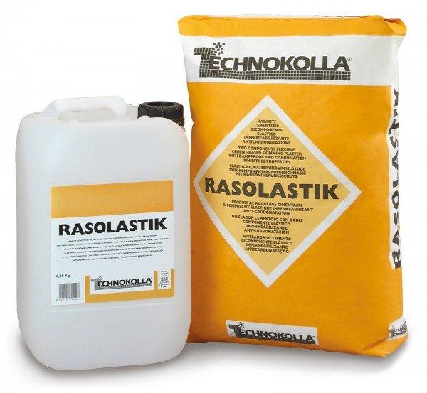Il rasante cementizio Rasolastik di Technokolla è un bicomponente elastico ha funzione impermeabile e anticarbonatazione. www.technokolla.com
