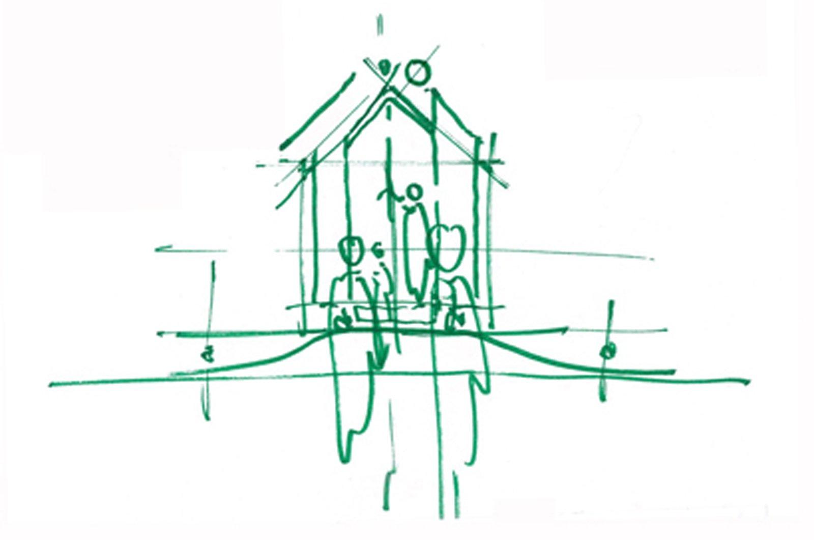 Casa minima il progetto diogene di renzo piano con for Schizzo di piani di casa gratuiti