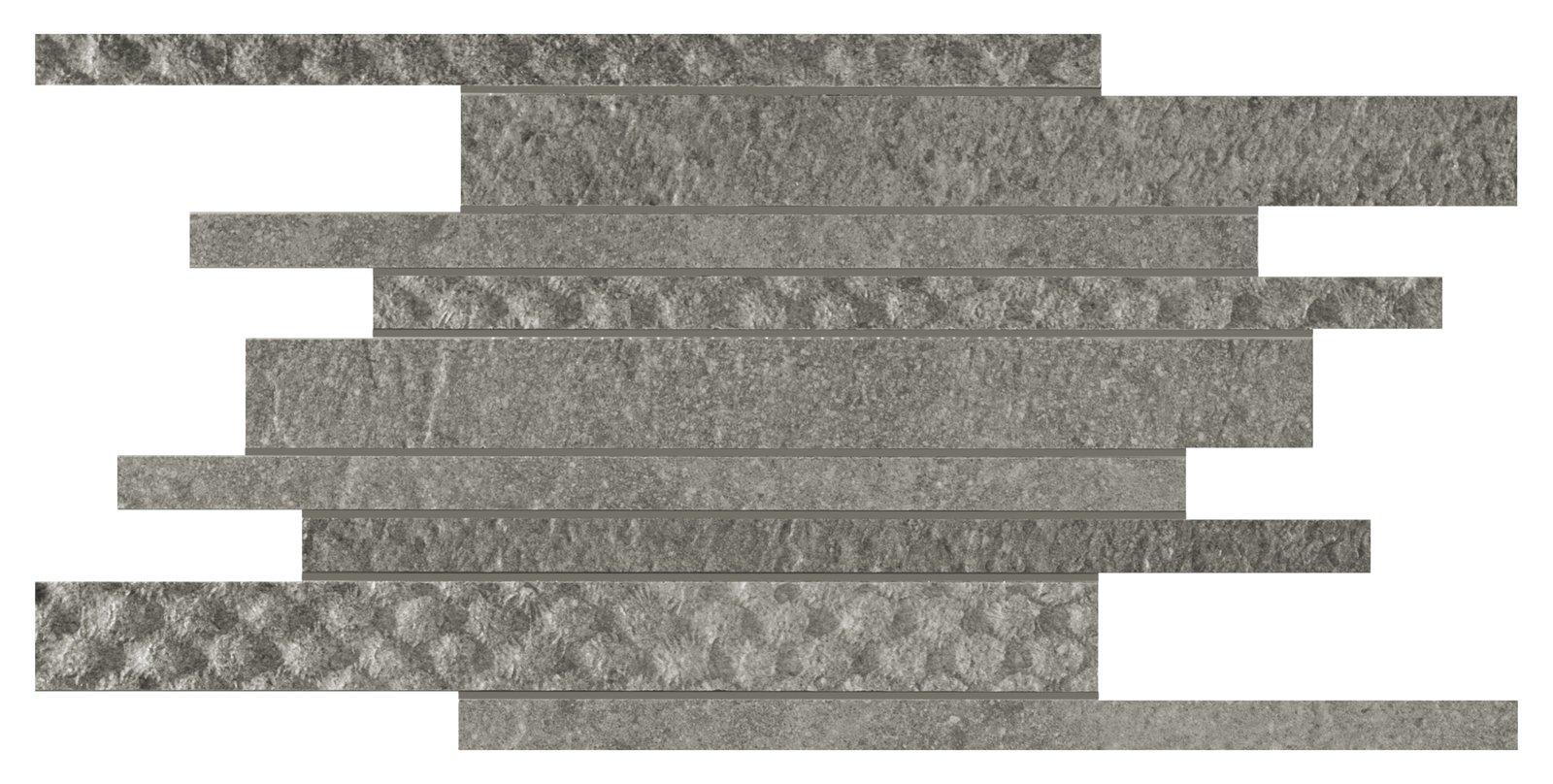 parete composta da listelli intrecciati Melange in grigio e antracite ...