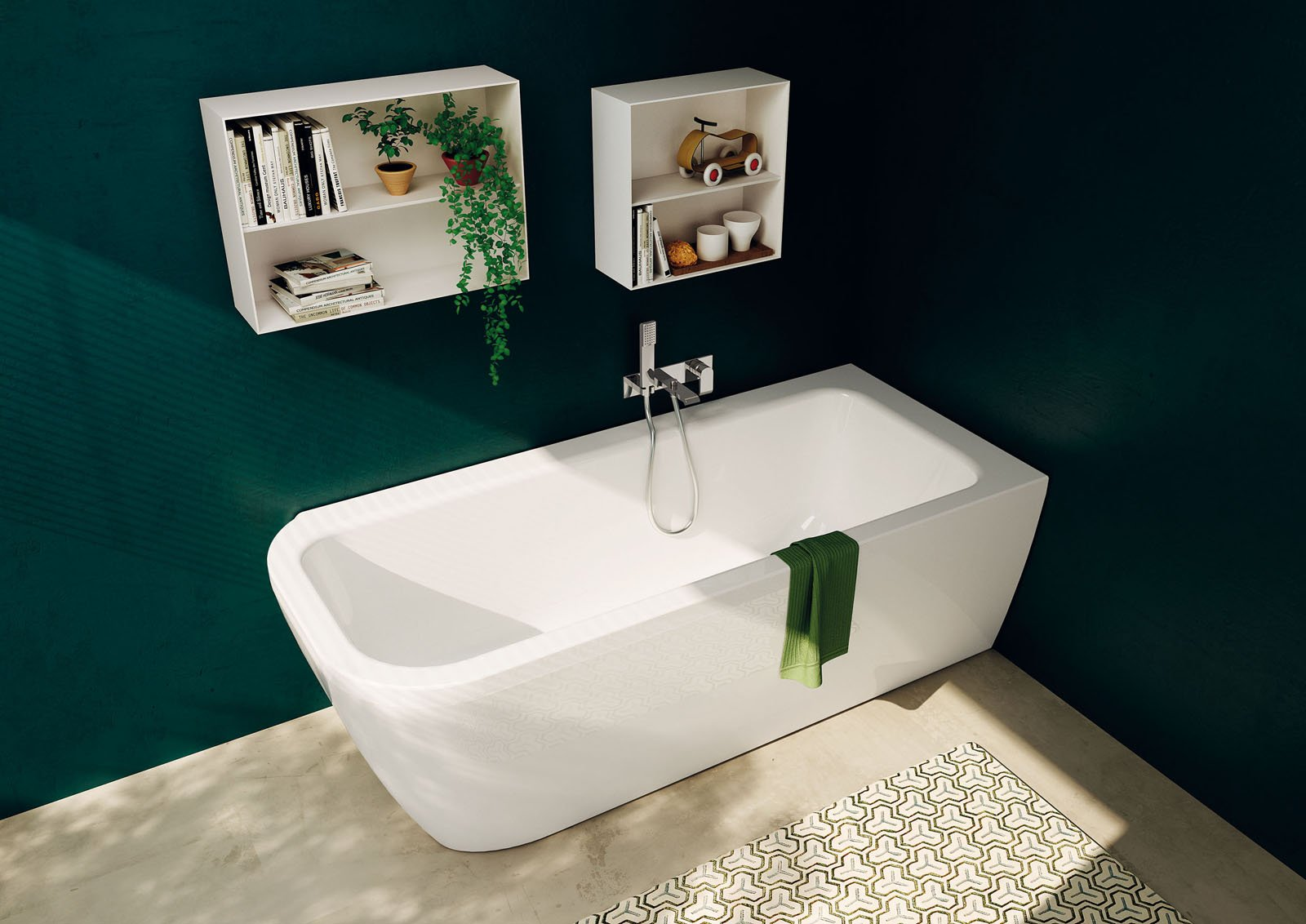 in acrilico la vasca nauha di teuco abbinata a rubinetteria a parete monocomando da