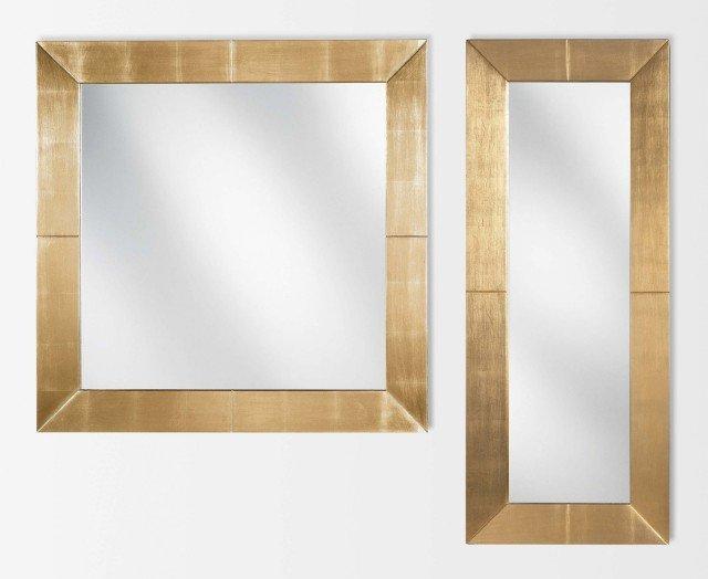 Con cornice in legno dorato, lo specchio quadrato Venezia Coll. Halifax di Tisettanta misura 85 cm: prezzo 572 euro. www.tisettanta.com