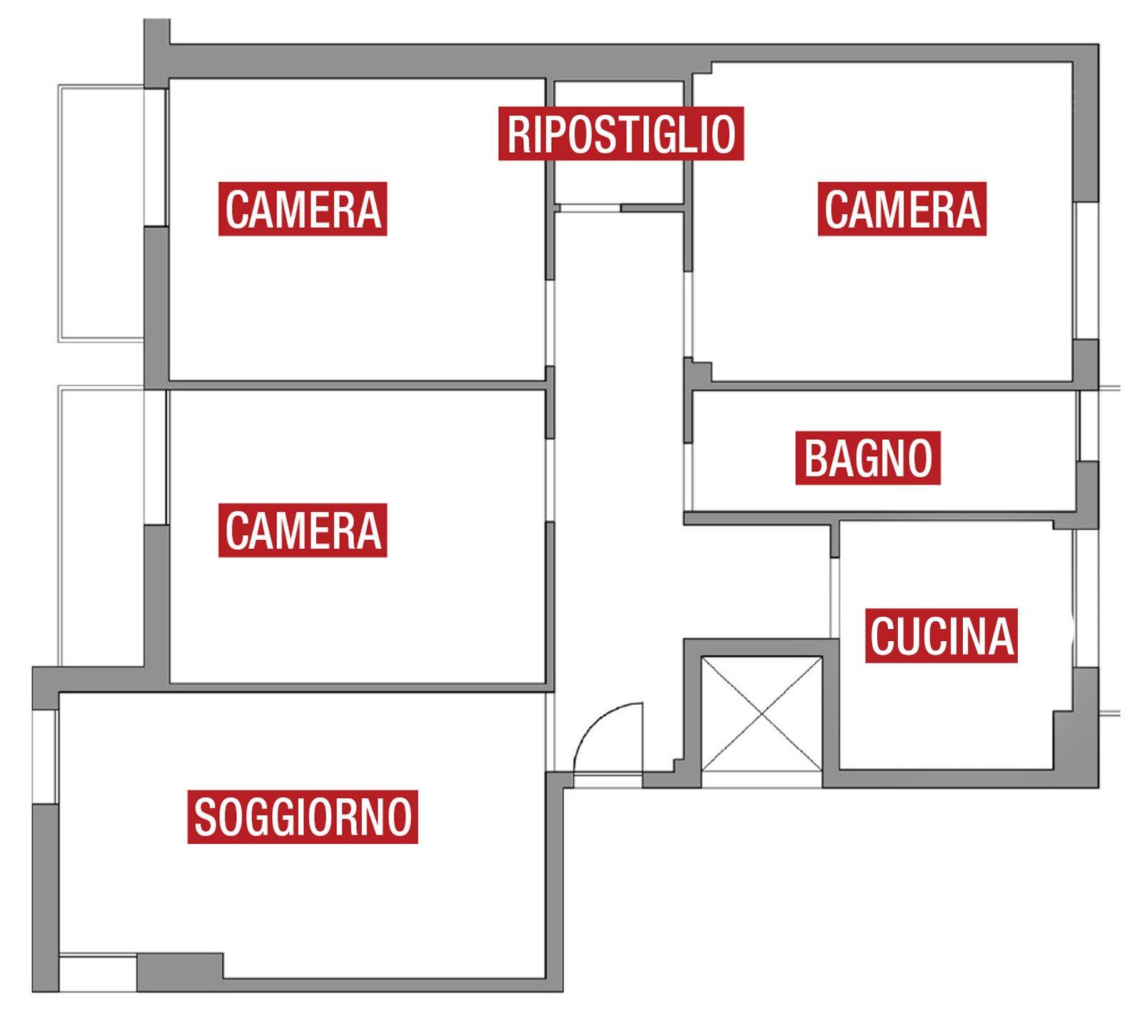 Soggiorno pi grande e un bagno in pi con il preventivo for Disegni di piano casa di due camere da letto