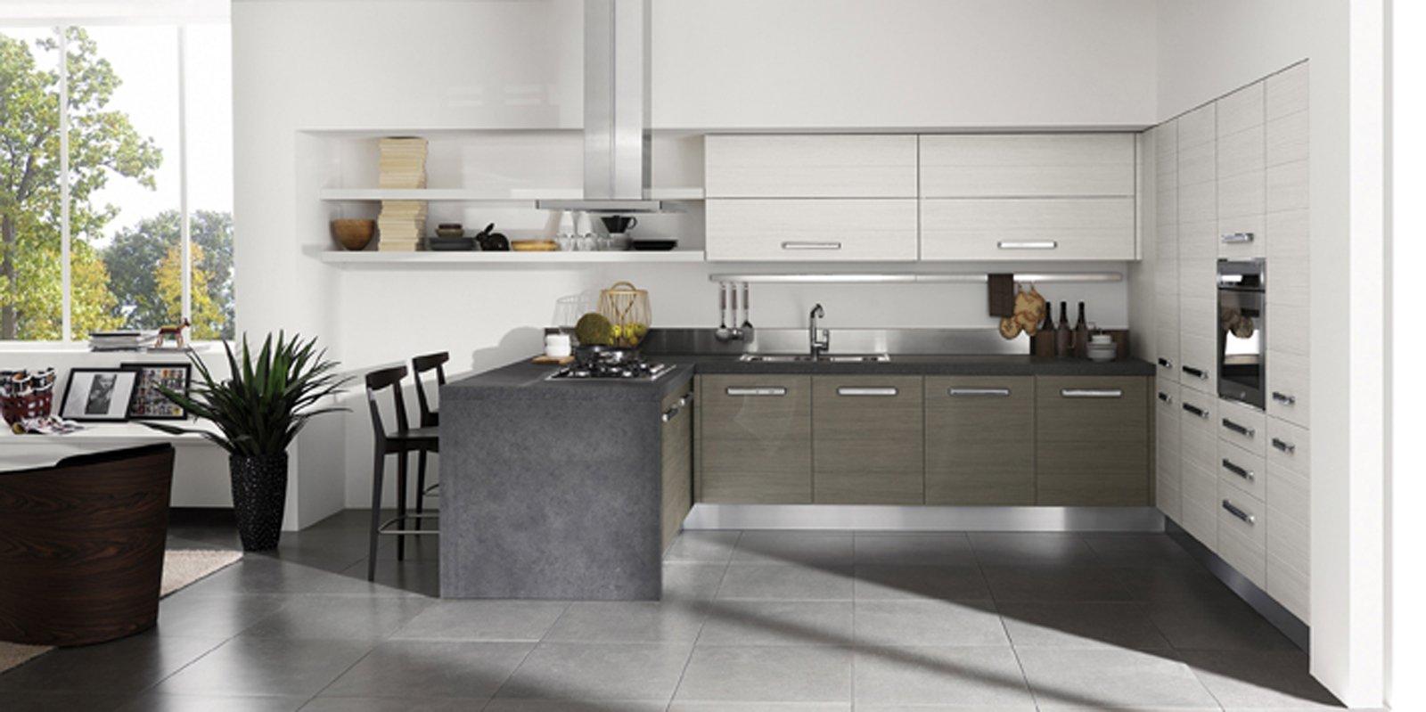 Cucine Moderne Con Isola Veneta : Versioni Con Maniglia O Con Gola  #737A51 1600 799 Cucine Veneta Con Isola