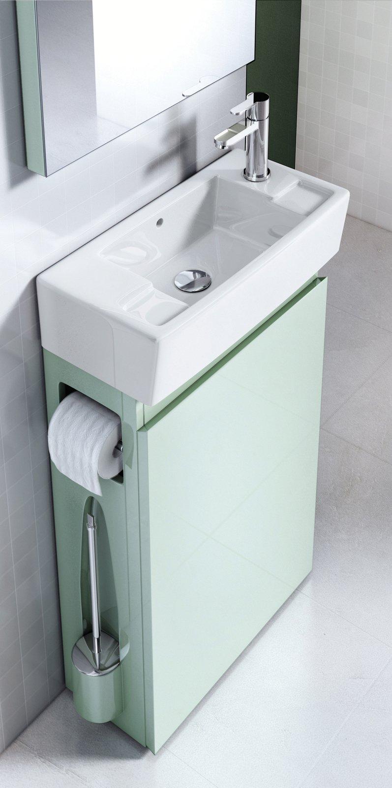 il mobile sottolavabo allinone di aquacabinets by regia in mdf nella finitura acquamarina ha antina reversibile